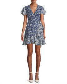 ba amp sh Floral-Print Ruffle Wrap Dress at Neiman Marcus