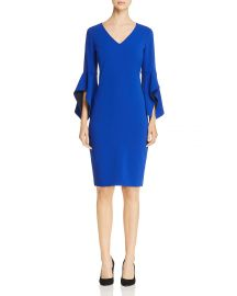 badgley mischka blue contrast bell sleeve dress at Bloomingdales