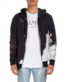 balmain Distressed-Print Zip-Front Hoodie at Last Call