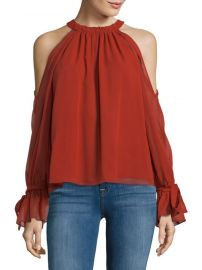 bcbgmaxazria Tie Sleeve Silk Cold-Shoulder Top at Saks Off 5th