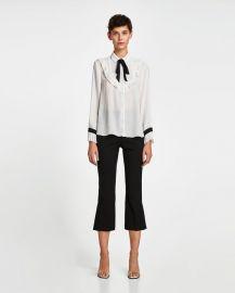 bib front shirt with bow detail at Zara