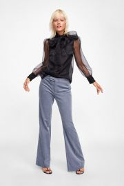 blouse with tied bow at Zara