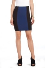 blue and black colorblock skirt by bcbg at Bcbgmaxazria