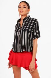 boohoo Striped Short Sleeve Boxy Shirt at Boohoo