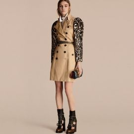 burberry Cotton Gabardine Trench Coat With Leopard-print Sleeves at Burberry