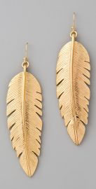 cc skye Large Gold Feather Earrings at Shopbop