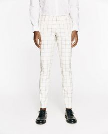 checked light grey suit trousers at Zara