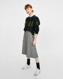 checked midi skirt with buttons at Zara