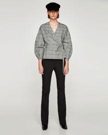 checked wrap blouse at Zara