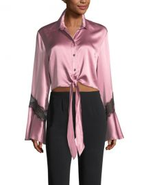 cinq a sept Genevieve Button-Front Silk Satin Top at Neiman Marcus