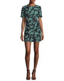 cinq a sept Bia Crewneck Tie-Side Palm-Print Mini Dress at Neiman Marcus