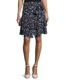 cinq a sept Carson Floral-Print Silk Flounce Skirt at Neiman Marcus