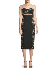 cinq a sept Clemence Strapless Cutout-Waist Crepe Sheath Dress at Neiman Marcus