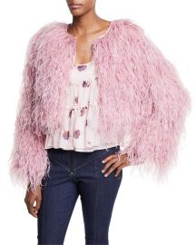 cinq a sept Lennox Cropped Feather Jacket   Neiman Marcus at Neiman Marcus
