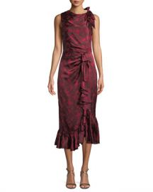 cinq a sept Nanon Sleeveless Ruched Floral-Print Midi Cocktail Dress at Neiman Marcus