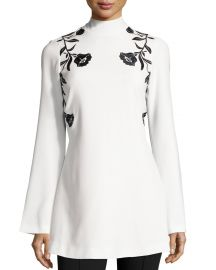 cinq a sept Rosabell Floral Open-Back Tunic  Ivory at Neiman Marcus