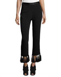 cinq a sept Tash Tassel-Hem Straight-Leg Pants at Neiman Marcus