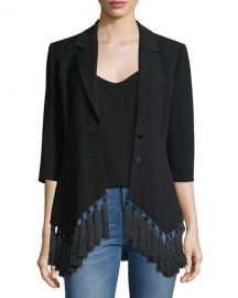 cinq a sept Violetta Two-Button Crepe Blazer w  Tassel Hem at Neiman Marcus