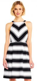 contrast stripe print halter fit and flare dress at Adrianna Papell