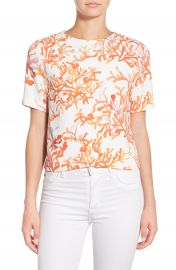cooper and ella  Lottie  Coral Print Crepe Top at Nordstrom
