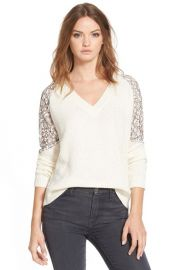 cooper and ellaLace Inset V-Neck Sweater at Nordstrom