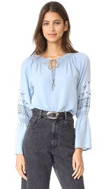 cupcakes and cashmere Kendi Embroidered Chambray Top at Shopbop