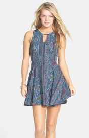 dee elle Print Keyhole Chiffon Skater Dress at Nordstrom