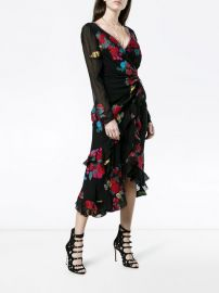 deep-V floral wrap dress at Farfetch