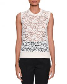 dolce gabbana Sleeveless Rose-Lace Front Knit Shell Top at Bergdorf Goodman