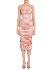 doloce gabbana Ruched Satin Lace-Up Dress at Saks Fifth Avenue