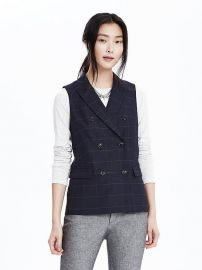 double breasted windowpane vest at Banana Republic