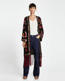 embroidered kimono with fringing at Zara