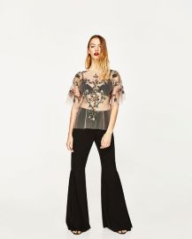 embroidered tulle top at Zara
