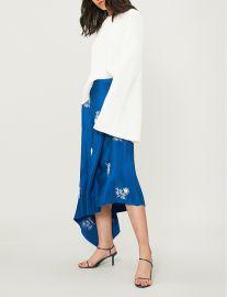 erdem Zora floral-embroidered silk-satin skirt at Selfridges