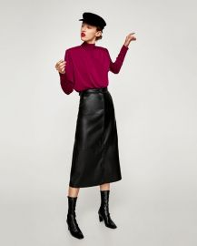 faux leather midi skirt at Zara