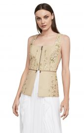 floral embroidered faux leather top    at Bcbg