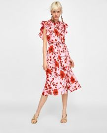 floral print linen tunic at Zara