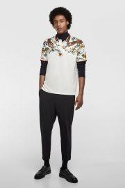 floral printed polo shirt at Zara