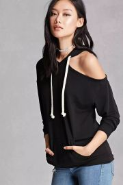 forever 21 One-Shoulder Heathered Hoodie at Forever 21
