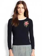 girl by Band of Outsiders - Rose Intarsia Pullover Sweater at Saks Fifth Avenue