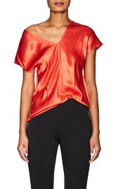 helmut lang satin v neck top at Barneys