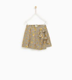 houndstooth skirt with bows at Zara