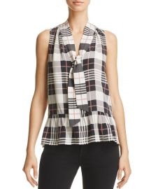 joie Estero Silk Plaid Top at Bloomingdales
