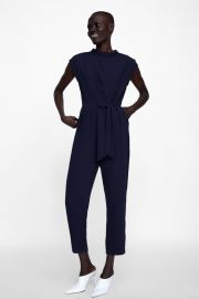jumpsuit with buttons and tie at Zara