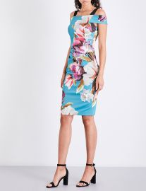 karen millen Painterlily cold-shoulder stretch-cotton dress at Selfridges