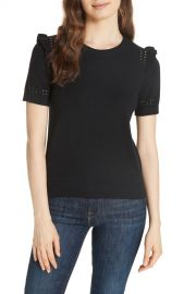 kate spade new york   ruffle sleeve cotton cashmere sweater   Nordstrom Rack at Nordstrom Rack