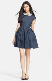 kate spade new york and39kimberlyand39 embellished denim fit andamp flare dress at Nordstrom