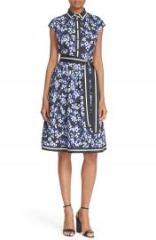 kate spade new york hydrangea print belted cotton shirtdress at Nordstrom