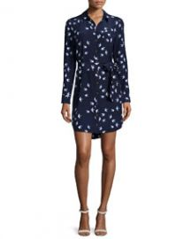 kate spade new york long-sleeve bird-print shirtdress at Neiman Marcus