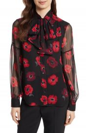 kate spade new york poppy chiffon bow blouse at Nordstrom